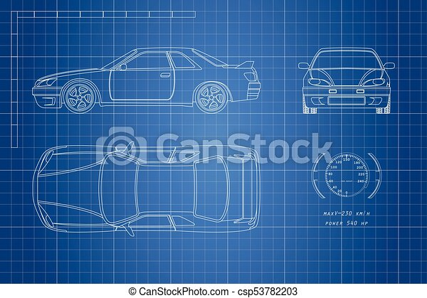 Drawing of the car on a blue background top front and side view drawing of the car on a blue background top front and side view malvernweather Gallery