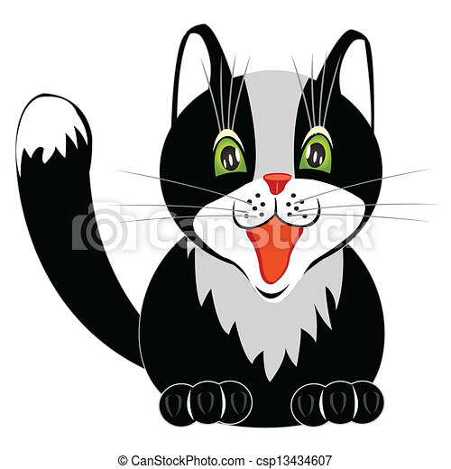 Drawing of the nice cat on white - csp13434607