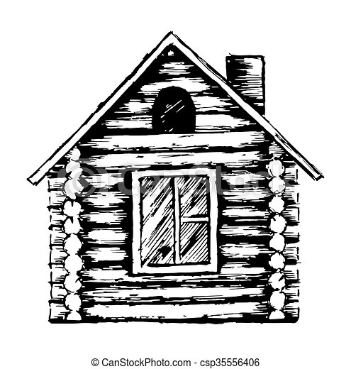 Drawing Of Wooden House Drawing Of The Country Wooden House