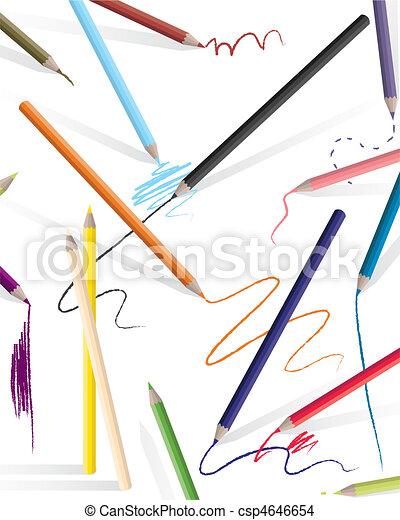 drawing pencils art black blue children color colored