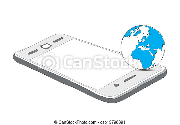 drawing phone and world globe isolated on white - csp13798891