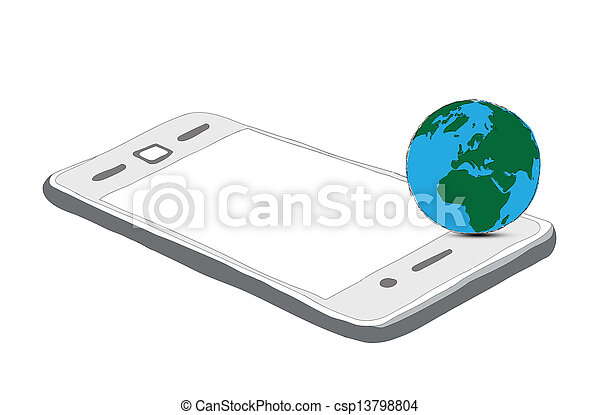 drawing phone and world globe isolated on white - csp13798804