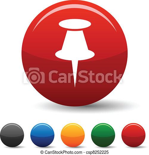 Drawing-pin icons. - csp8252225