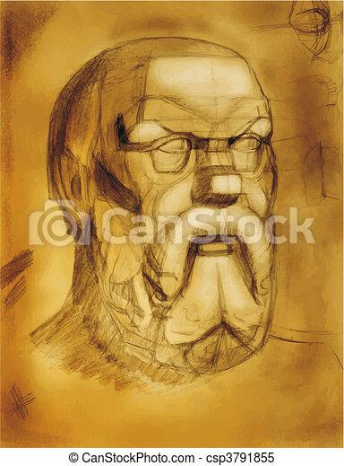 drawing plaster head - csp3791855