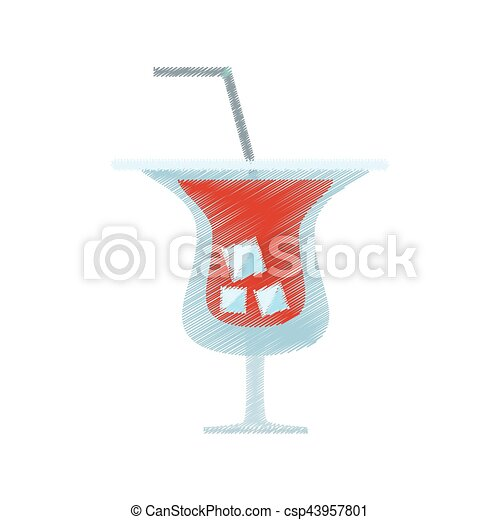 drawing red cocktail tropical drink ice straw - csp43957801