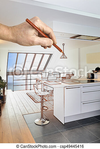 Drawing renovation of a Modern open kitchen in renovated house - csp49445416