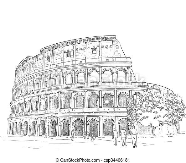 Drawing Roman Colosseum - csp34466181