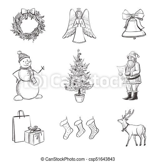 drawing set of christmas icons vector set of nine christmas sketches characters symbols and christmas decorations drawn https www canstockphoto com drawing set of christmas icons 51643843 html