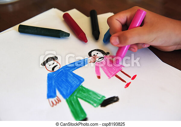 Drawing shows young girls inner feelings about being abused - csp8193825