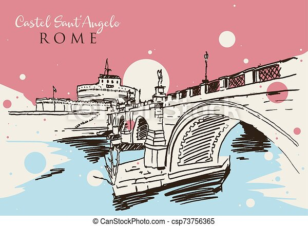 Drawing sketch illustration of Castel Sant'Angelo in Rome - csp73756365