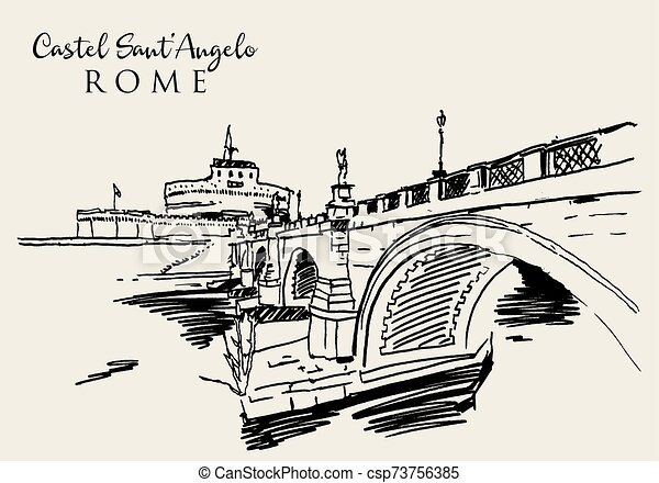 Drawing sketch illustration of Castel Sant'Angelo in Rome - csp73756385