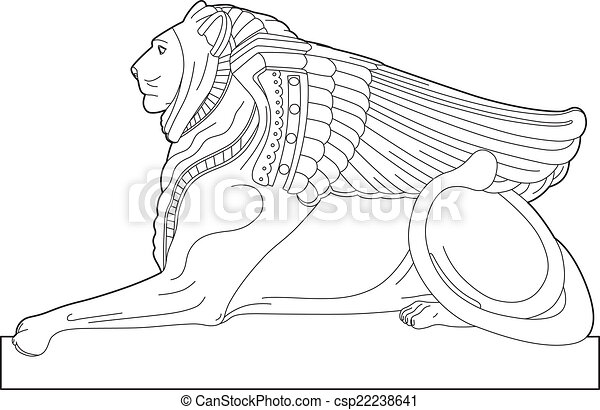 Drawing sphinx - csp22238641