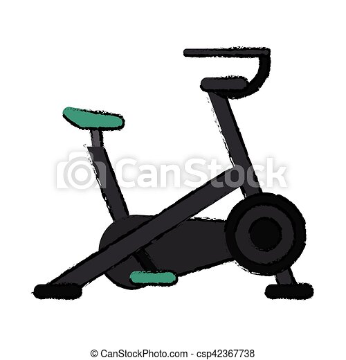drawing stationary bicycle machine gym sport - csp42367738