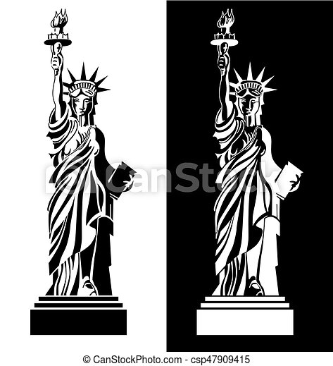 Black And White Drawing Statue Of Liberty Usa Symbol Vector