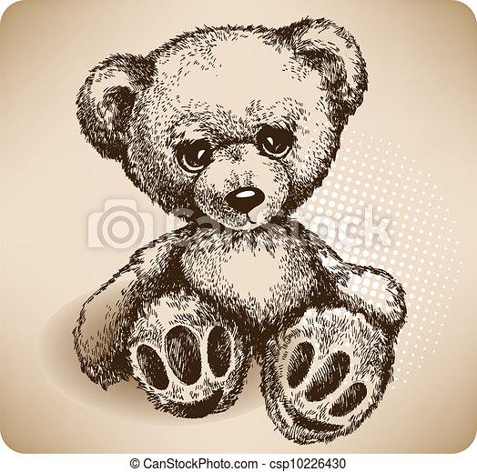 drawing., teddy, vector, beer, hand - csp10226430