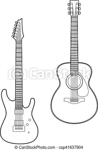 Drawing Two Guitar Vector Illustration Of Two Guitars Eps 10 File