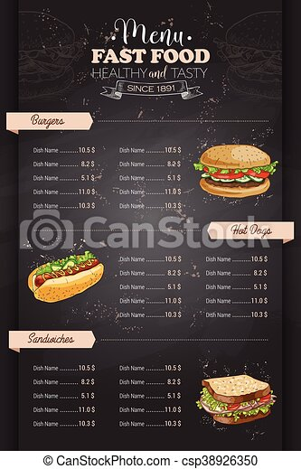 Drawing Vertical Color Fast Food Menu Design On Blackboard Clipart