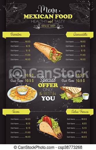 Drawing vertical color mexican food menu - csp38773268
