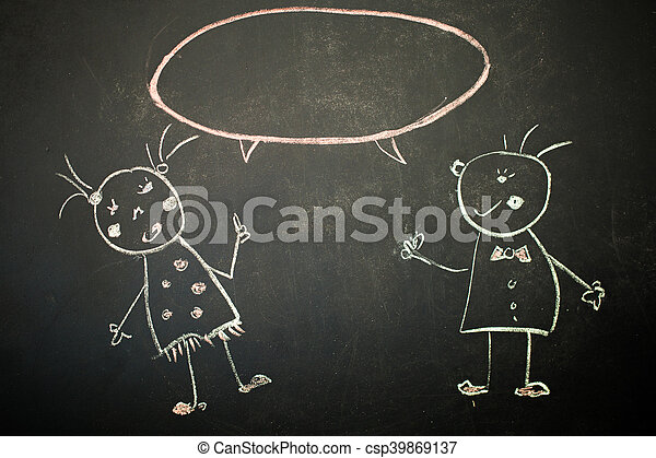 drawing with chalk on black Board - csp39869137