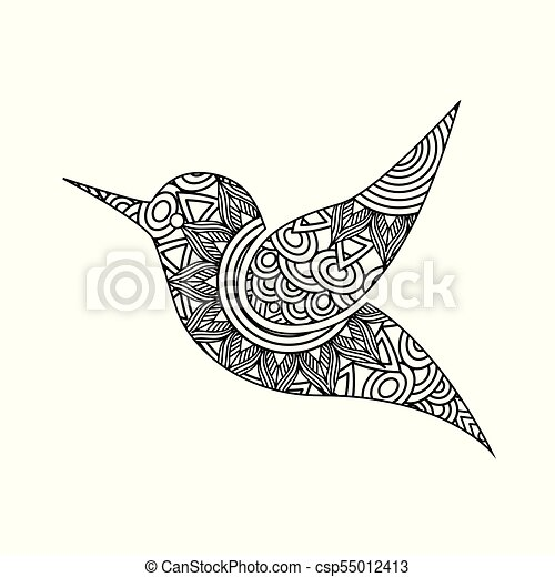 drawing zentangle for bird adult coloring page - csp55012413