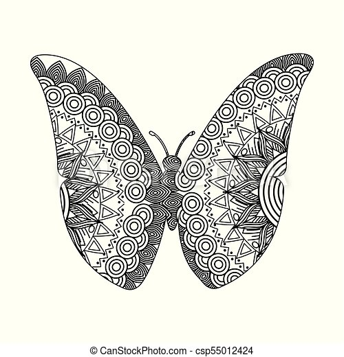 drawing zentangle for butterfly adult coloring page - csp55012424