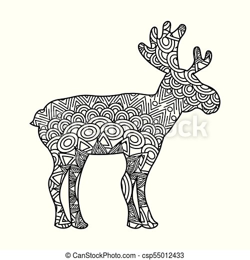 drawing zentangle for deer adult coloring page - csp55012433