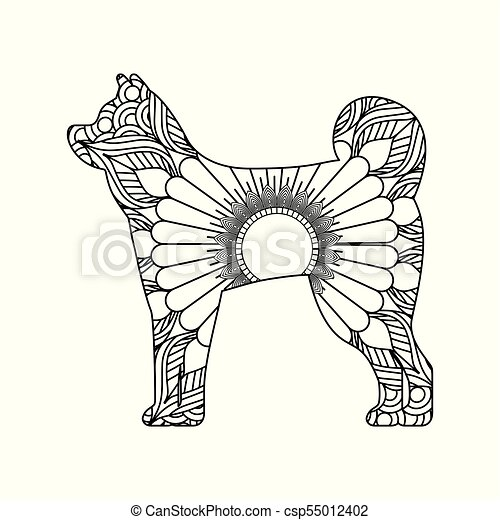 drawing zentangle for dog adult coloring page - csp55012402
