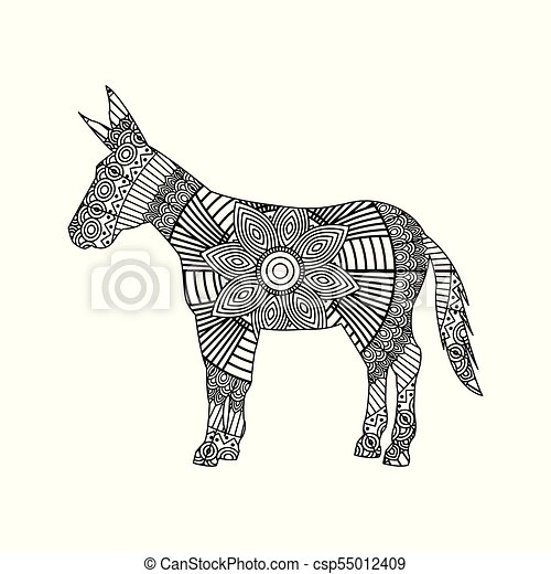 drawing zentangle for donkey adult coloring page - csp55012409