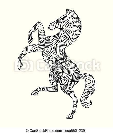 drawing zentangle for horse adult coloring page - csp55012391