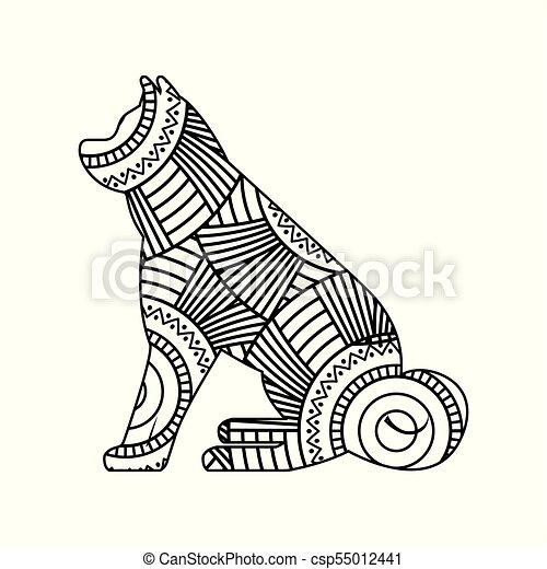 drawing zentangle for sitting dog adult coloring page - csp55012441