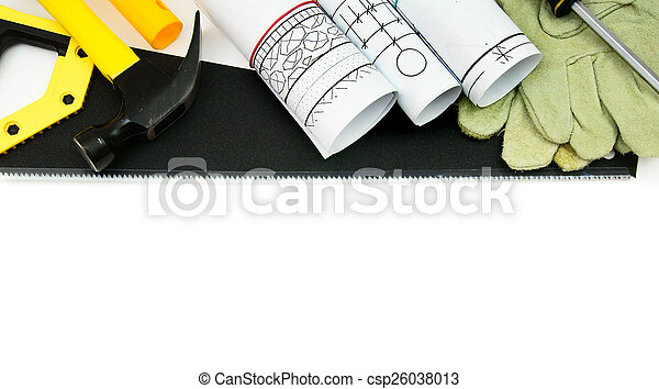 Drawings for building house and working tools. - csp26038013