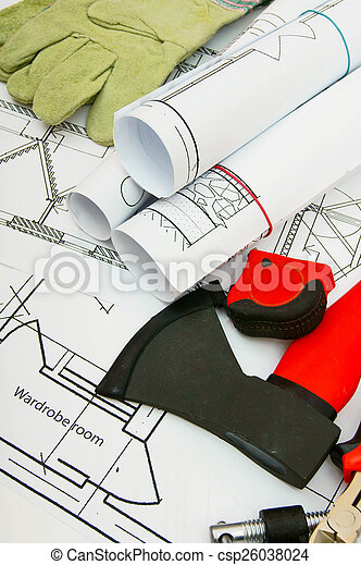 Drawings for building house and working tools. - csp26038024
