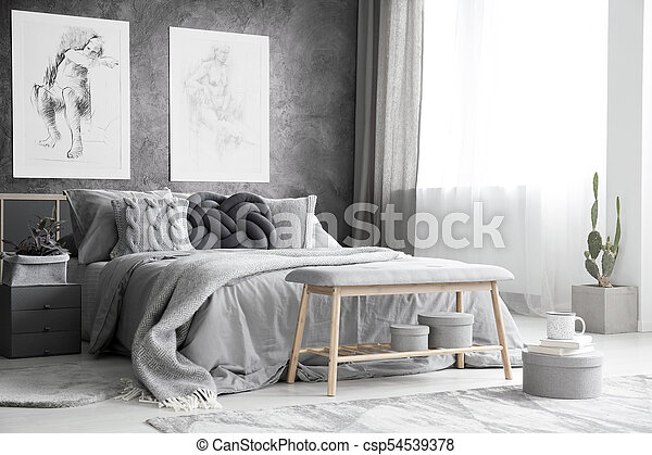 Excellent Drawings In Monochromatic Bedroom Camellatalisay Diy Chair Ideas Camellatalisaycom