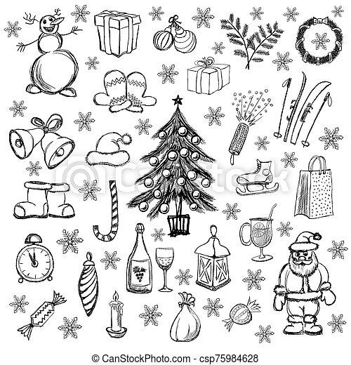 Drawings of Christmas - csp75984628
