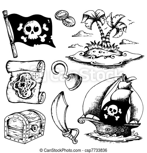 Drawings with pirate theme 1 - csp7733836