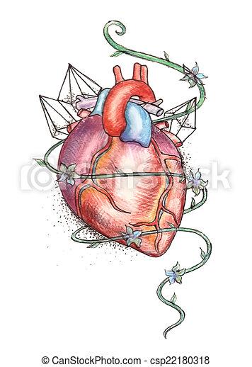 Drawn Human Heart Hand Drawn Tattoo Style Vector Clip Art Search