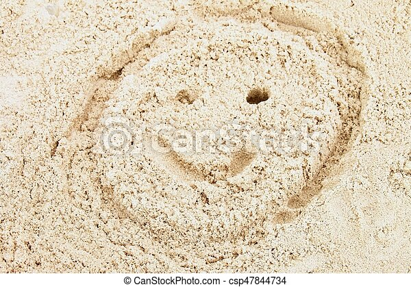 Drawn Smiley Face In Summer Beach Sand Painted Head In Dray Salt
