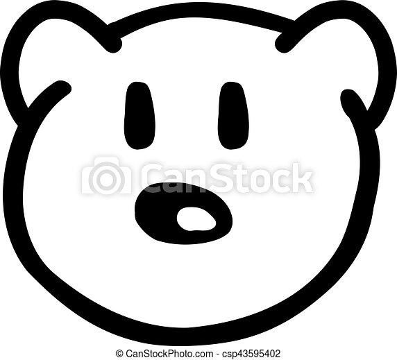 Drawn teddy bear head - csp43595402