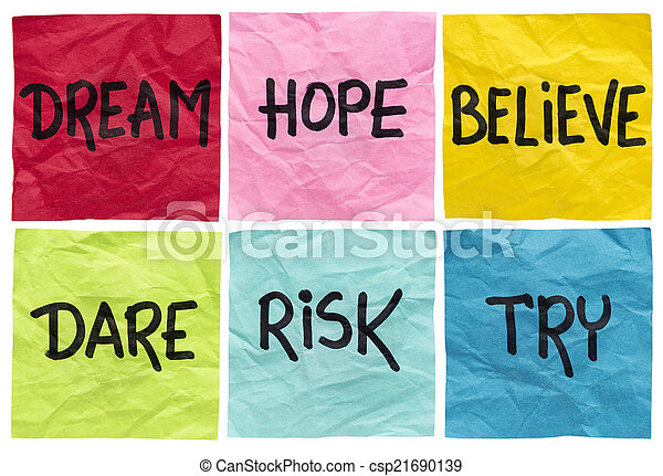 dream, believe, risk, try - csp21690139