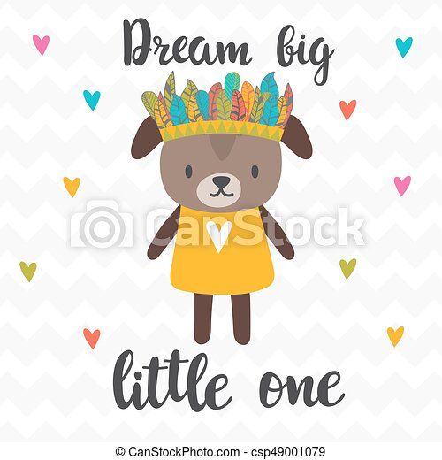 Dream Big Little One. Inspirational Quote. Hand Drawn Lettering.  Motivational Poster. Cute