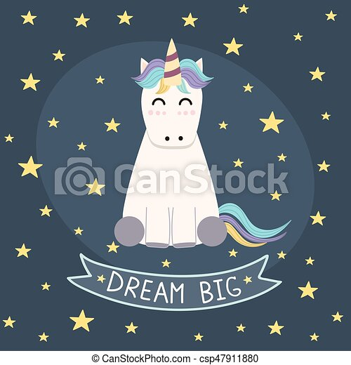 Dream Big poster, greeting card with cute unicorn - csp47911880