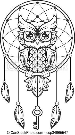Dream Catcher Black And White Owl