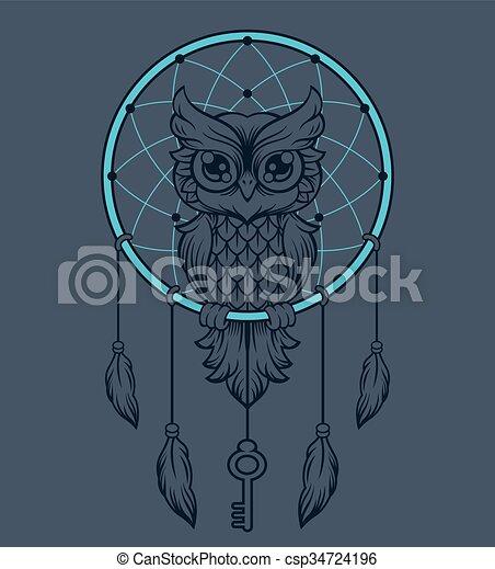 Dreamcatcher Owl Vector Illustration Fascinating Animal Dream Catchers