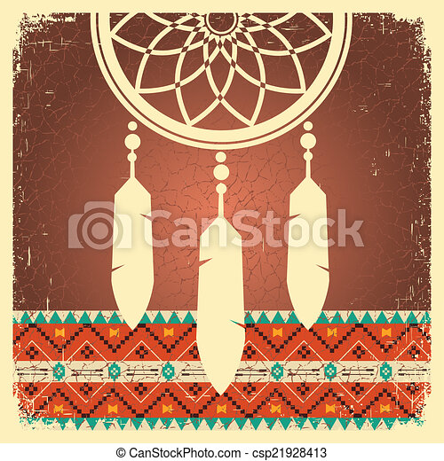 Dream catcher poster with ethnic ornament - csp21928413