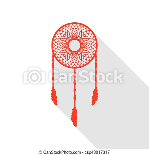 Dream catcher sign. Red icon with flat style shadow path. - csp43017317