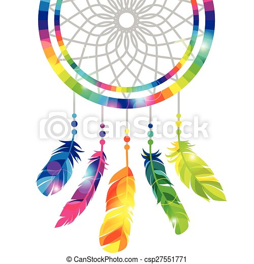 Dream catcher with abstract bright transparent feathers - csp27551771