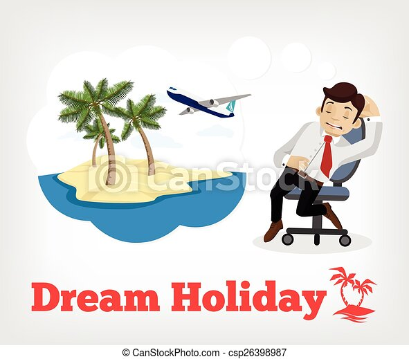 Dream Holiday Vector Flat Illustration