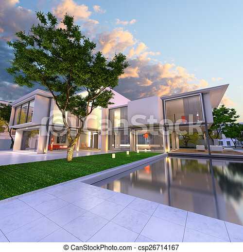 Dream house side 3d rendering of beautiful modern villa for Dream house 3d