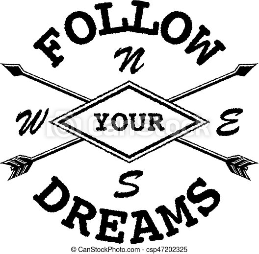 Dream Inspirational Quote Follow Your Dream. Lettering Inspirational Quote  Design Or Posters, T Shirts, Advertisement.