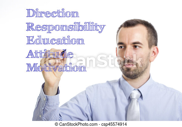 DREAM - Young businessman writing blue text on transparent surface - csp45574914